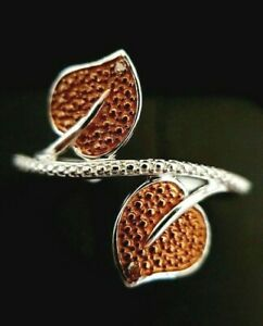 Damen 925 Sterling Silber Texturiert Champagner Diamant Blatt Crossover Ringgröße p