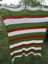 Vintage Hand Crochet Avocado Green, White And Rust Stripes Afghan With Fringe