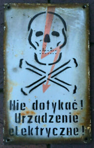 SKULL don't touch electric device! high voltage porcelain enamel sign