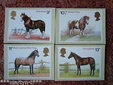PHQ Stamp card set No 30 FDI Back - Horses 1978. 4 card set.  Mint Condition.