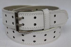 New Unisex Men's Womens Solid 2-Double Row Holes Plain Leather Belt w/ Ag Buckle