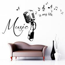 "10253 Sticker mural lettrage "" musique est My Life "" muraux micro"