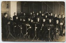 Antique Real Photo Postcard RPPC School Music Class Students With Instruments