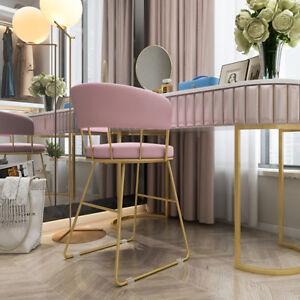 Nordic Golden Frame with Pink Velvet Cushion Round Backrest Dressing Stool Chair