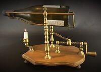 Rarissime décanteur ajustable à bouteille vintage bois & laiton - Œnologie