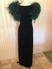 Gorgeous Vintage Lillie Rubin Green Velvet with Feathers Formal Long Dress Sz 6