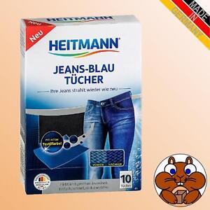 3x HEITMANN Jeans Blau Tücher à 10 = 30 Stück Nachfärben Denim Stoff TextilFarbe