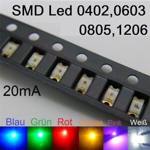 SMD LED 0402 0603 0805 1206 Superhelle LEDs verschiedene Farben Leuchtdioden SMT