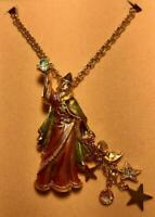 KIRKS FOLLY Wizard Necklace Merlin Enamel Crystal Rhinestone Pin Brooch Pendant