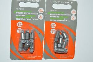 2 packs south bend non-lead rubber center sinkers weights 1/8oz nl-rc-00