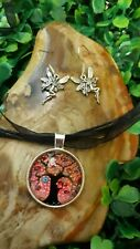 Colourful Tree Of Life Silver Cabochon Pendant Necklace & Fairy Earrings