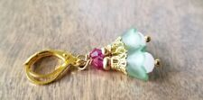 Czech glass, crystals, gold fuchsia Tulip Earrings, green Dangle, petite