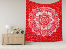 Indian Red Tapestry Bedspread Throw Cotton Wall Hanging Ethnic Decor Art