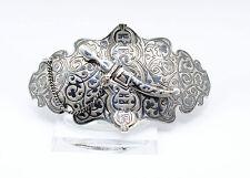 Antike Gürteschnalle Russland Tula Niello Silber 84 Zolotniki Russia Belt Buckle