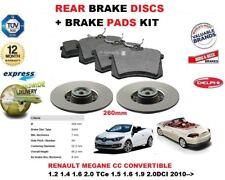 für RENAULT MEGANE CC Cabrio 2010- > Bremsscheiben SET HINTEN+Bremsbelagsatz