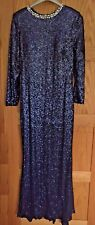 Janique By Kourosh Babaian Navy Blue Rhinestone & Sequin Evening Dress Size 12