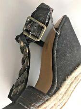 De Blossom Collection Sandals Womens Sz 10 Platform Denim Studs Wedge Heels