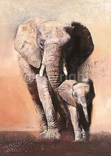 Talantbek Chekirov: Savannah Fertig-Bild 50x70 Wandbild Elefanten