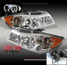06 07 08 BMW E90 3-SERIES HALO PROJECTOR HEADLIGHTS LAMPS CHROME 323I 325I 325XI