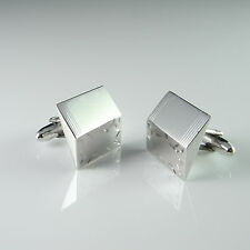 1950s Designer Sterling Silver 925 Cuff Links Cufflinks Modernist Engraved Retro