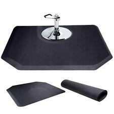 "Black 5'x4' 1/2"" Thick Barber Salon Anti Fatigue Floor Mat Semi Hexagan"