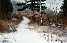 """GROUSE FEEDING"" Flock of Grouse in the Woods Mint s/n Print By Les Kouba"
