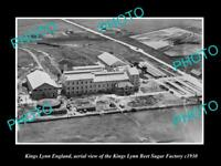OLD LARGE HISTORIC PHOTO OF KINGS LYNN ENGLAND, THE BEET SUGAR FACTORY c1930
