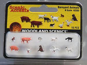 WOODLAND SCENICS N SCALE BARNYARD FARM ANIMALS figure cow pig duck goat WDS2202