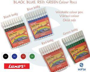 LUXOR Washable Water Colour Felt Tip Fibre BLACK RED BLUE GREEN Pens School Home
