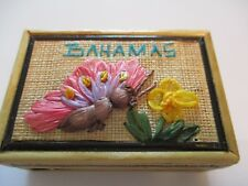 Bahamas Jewelry Box Wood Bee & Floral Design 4.25 x 2 x 1.5 Inches Collectible