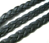 Lederband geflochten schwarz 2x7,8mm 100 cm SERAJOSY