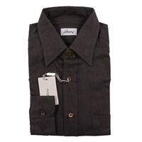 NWT $600 BRIONI Classic-Fit Soft Herringbone Twill Cotton Shirt M (III)