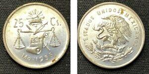 1953 Mexico 25 Centavos    .300 Silver      ASW .0321 Toz    D42