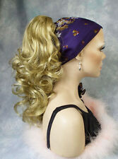 Curly Medium Gold Blonde Reversible Clip-On Hair Piece Ponytail