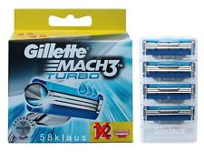 4 Gillette Mach 3 TURBO LAMETTE DA BARBA 4 pezzi in blister
