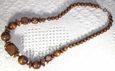 """Vintage Geometric Shapes Golden Brown Wooden Beads 22"""" Necklace"""