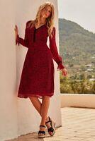 Sosandar Red Leopard Print V Neck Midi Dress Size 8 UK
