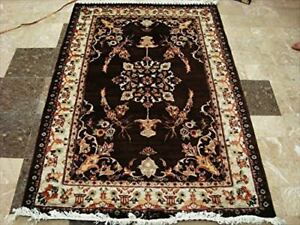 New Brown Medallion Rectangle Area Rugs Hand Knotted Wool Silk Carpet- (6 x 4)'