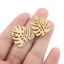 20x Raw Brass Autumn Leaf Charms Pendants DIY Jewellery Necklace Earring Making