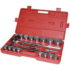 "20pc 3/4"" Socket Set 19-50mm Extension Bars Ratchet Handle 16 sockets Carry Case"