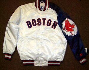 BOSTON RED SOX MLB STARTER SNAP DOWN Jacket M L XL 2X WHITE with BLUE Trim