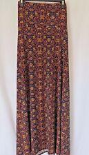 LuLaRoe Maxi Skirt Fold Down Waist Navy Orange Floral Print Size L #5297