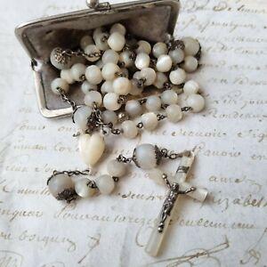 Superbe Chapelet Ancien en Nacre et Argent fin XIXè Victorian MOP Rosary