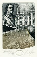 """HISTORY"" Architecture, Original Print Ex libris Etching by Hristo Kerin"