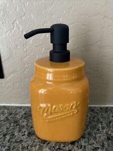 Farmhouse Ceramic Mason Jar Soap Dispenser Orange