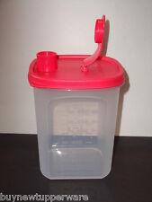 Tupperware Slim Line Square 1-qt Clear Pitcher & Red Pour Seal Cream Formula New