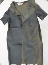MARNI Green Real Leather Long Short Sleeve Coat Over Coat size 10/12  Distressed
