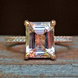 3Ct Emerald Cut Peach Morganite Solitaire Engagement Ring 14K Rose Gold Finish