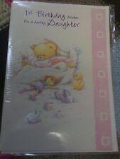 Daughter 1st Birthday greetings card - cute