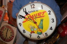 "Original Vintage 1959 Squirt Soda Pop 15"" Lighted Metal Pam Clock Sign~Works"